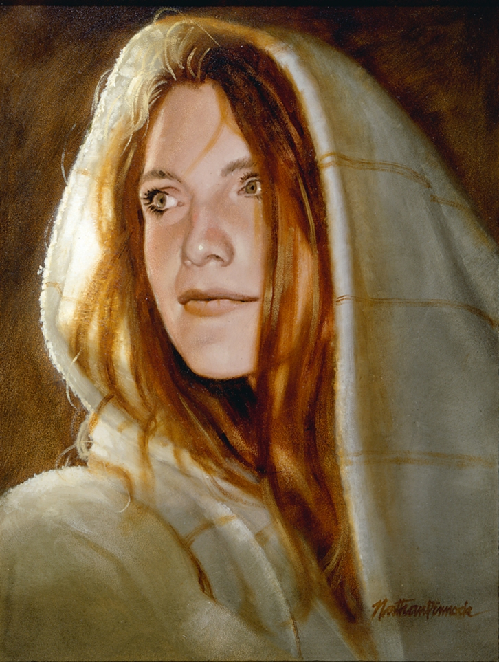Woman In Shawl - Oil Painting by Nathan Pinnock